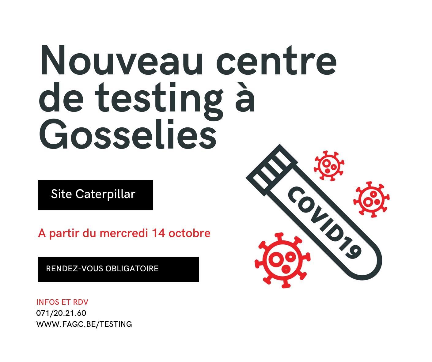 Covid : nouveau centre de testing sur le site de Caterpillar - Télévision locale de Charleroi et sa région - Thuin - Chimay - Basse Sambre
